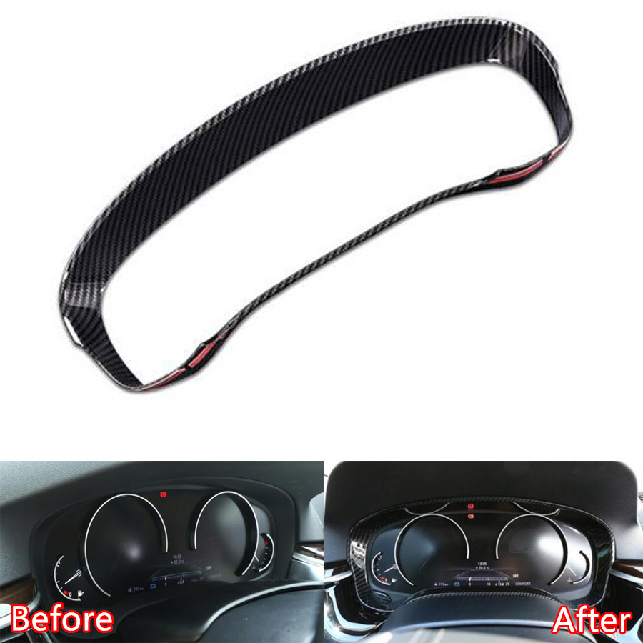 YAQUICKA Car Interior Dashboard Instrument Frame Trim Styling Auto Accessories For BMW 5 Series G30 2018 Carbon Fiber Style ABS abs accessories for ford mustang 2015 2016 2017 carbon fiber style dashboard instrument display ring frame cover kit trim