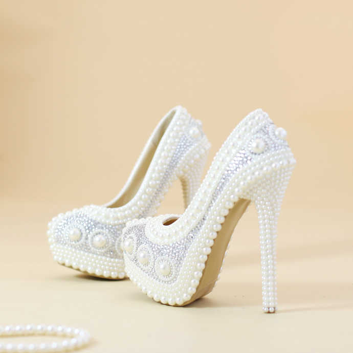0455e94e54 Shoes wedding white Pearl round toe evening dress wedding shoes bride heels  platform waterproof festival gift for wife daughter