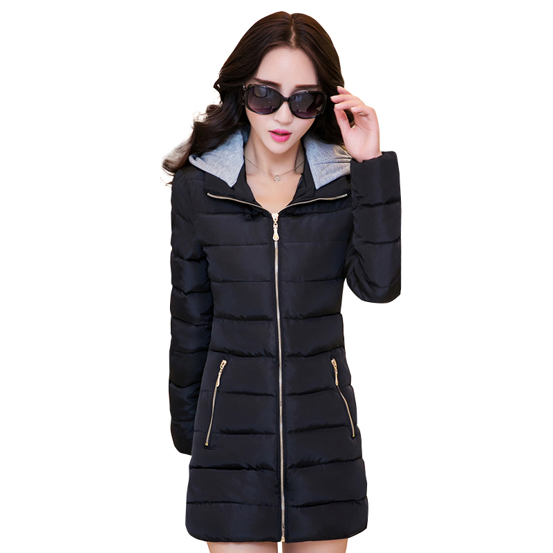 2017 high quality women winter coat cotton padded solid hooded slim outerwear jacket plus size feminino casual warm parka casaco 2017 middle aged winter jacket women thicken warm cotton padded slim plus size 6xl winter coat women parka high quality