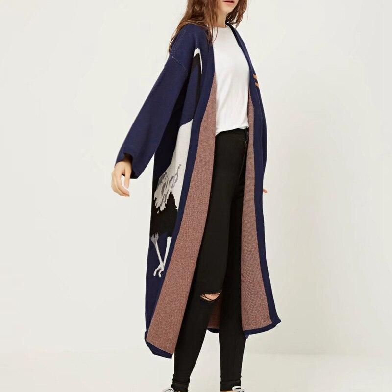TWOTWINSTYLE Cigogne Femelle de Cardigan Chandail pour les Femmes D'hiver Jumper Manteau Femelle Kimono Vintage Tricoté Longue Tranchée Coupe-Vent - 4
