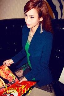 free shipping,2013 spring jacket,white and black blazer women,color block,korean style good quality OL temperament career coat