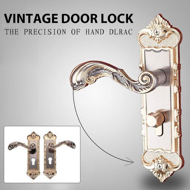 1 Set Vintage Door Lock European Style Retro Bedroom Door Handle Lock Interior Anti theft Room Safety Door Lock