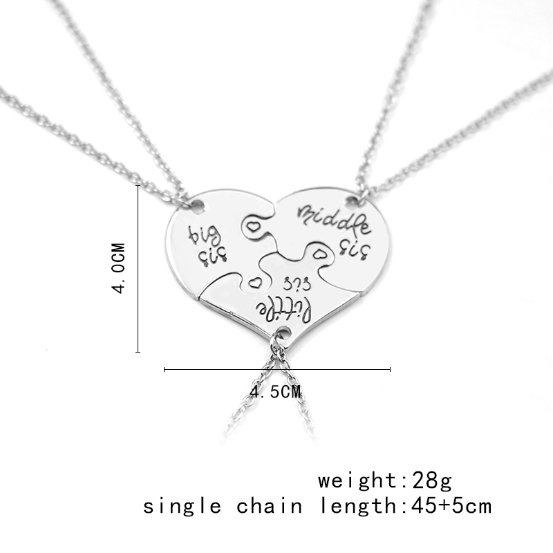 QIHE JEWELRY 3 Piece Heart Personlig stor sis middle sis little sis 3 - Mode smykker - Foto 6