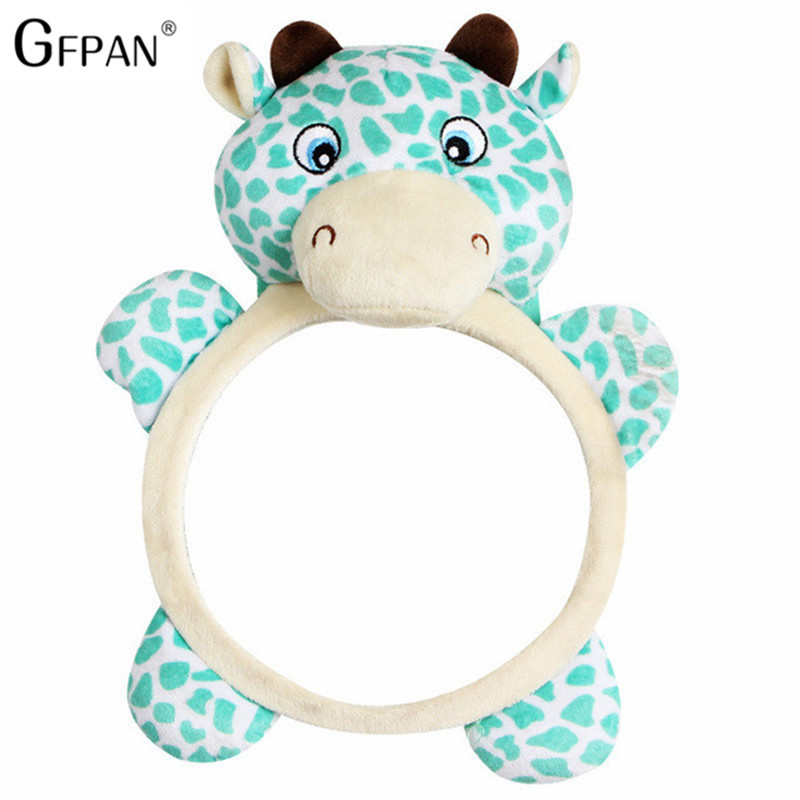 1pc 28*21cm Kawaii Baby Rattle Baby Car Seat Plush Toy Stuffed Animal Deer Mirror Rearview Infant Backseat Pvc Toy Newborn