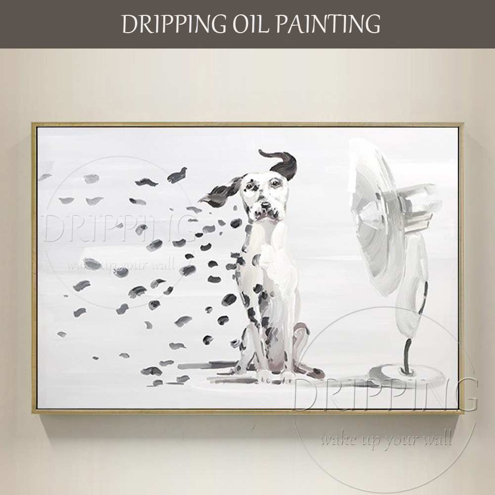 Artist Hand-painted Funny Design Dalmatian Oil Painting on Canvas Handmade Spotted Dog Blowing Fan Oil Painting for Living Room