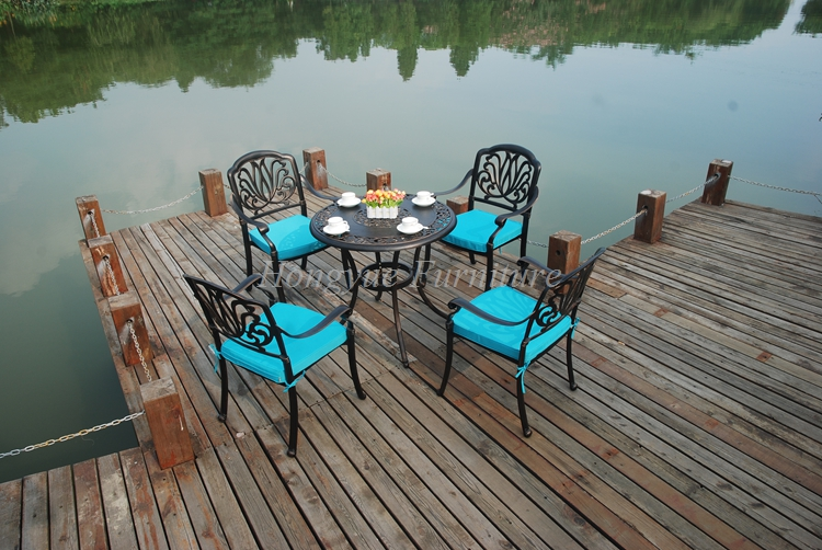 Patio cast aluminum one table four chairs set furniture sale with blue cushions