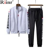 Riinr новые костюмы Для мужчин 2018 Осень Письмо печати костюмы Для мужчин спортивные костюмы куртка + брюки SportsSuit комплект из 2 частей Для мужчин верхняя одежда наборы