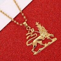 Эфиопские льва кулон Цепочки и ожерелья цепь Для женщин Для мужчин золото Цвет ювелирные изделия Африка Эфиопии Лев Цепочки и ожерелья
