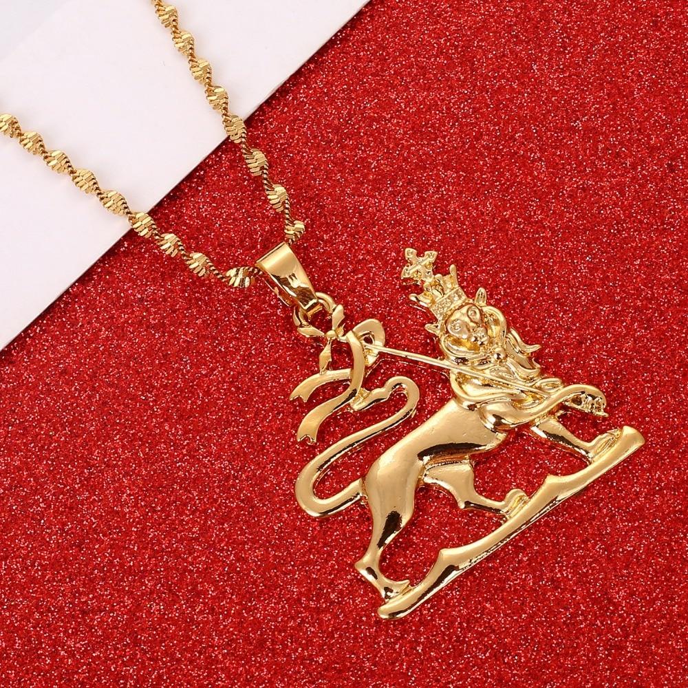 4144e505b7a8 Etiopía León colgante collares cadena mujeres hombres oro Color joyería  África Etiopía collar León