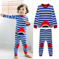 Conjunto de Pijama Listrado Azul Tubarão Dos Desenhos Animados Primavera Outono das crianças Do Bebê Conjuntos de Roupas Menino de Alta Qualidade Pijama de Manga Comprida Pijamas