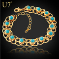 Turquoise Bracelets Bangles Quality Gold Plated Blue Turkey Stone Link Chain Bracelets Women Jewelry Wholesale H341