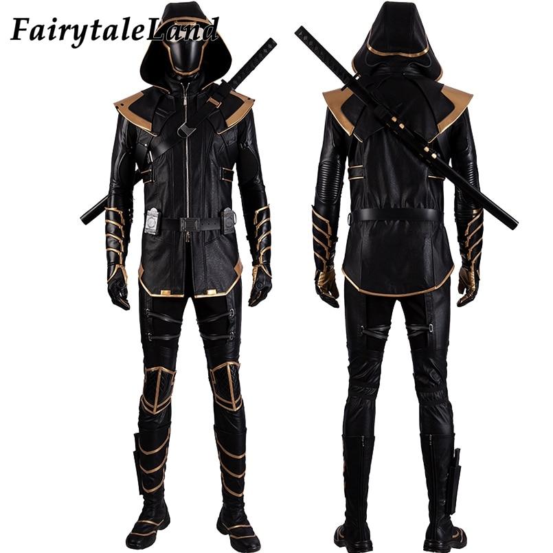 Endgame Hawkeye Costume Avengers Halloween Cosplay Clint Barton Ronin Black Suit Fancy Hawkeye Hood Costume Custom