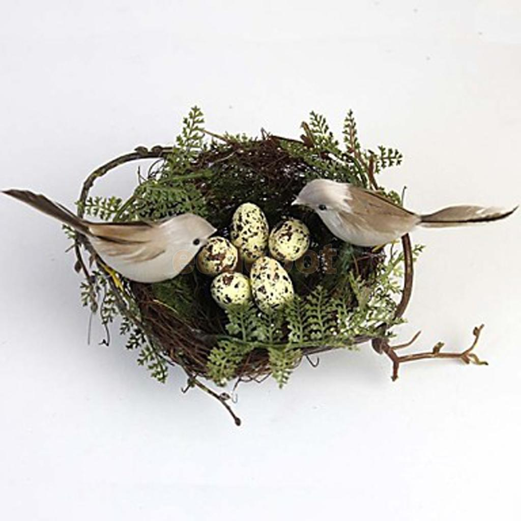 Bird nest house 2pieces artificial birds 5pieces eggs for Artificial birds for decoration