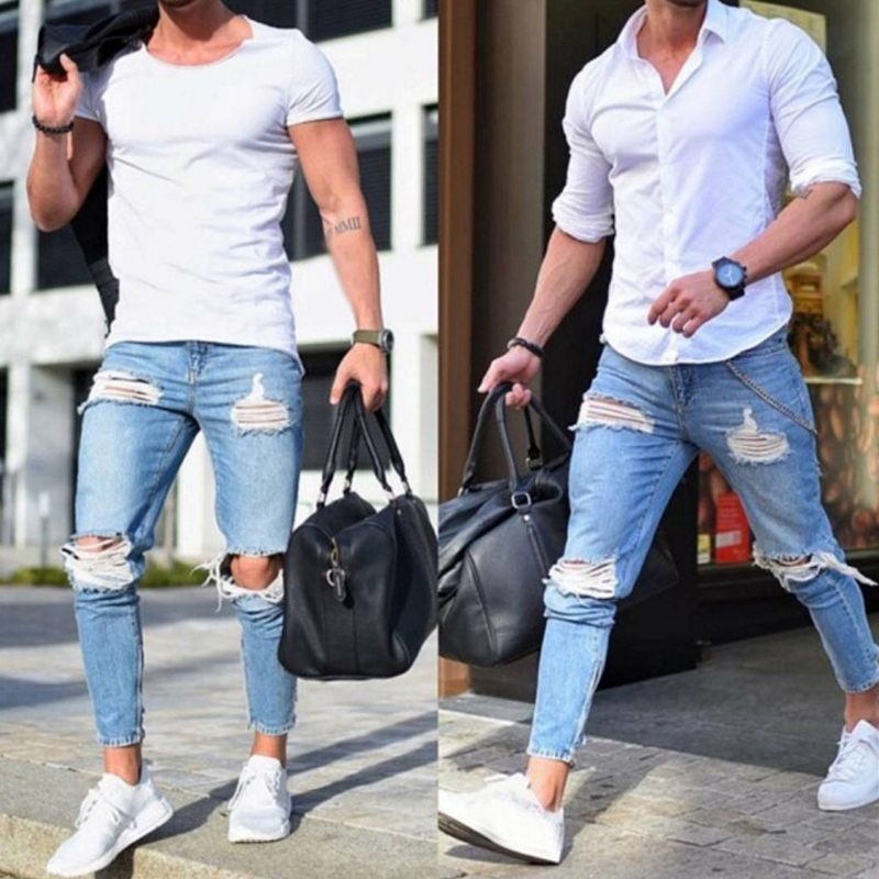 2019 New Men's Jeans Stretch Destroyed Ripped Design Fashion Ankle Zipper Skinny Jeans For Men C1335