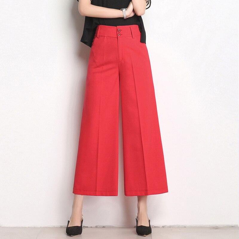 2018 las nuevas mujeres ancho de la pierna Pantalones de cintura ... 0354eb5a8453