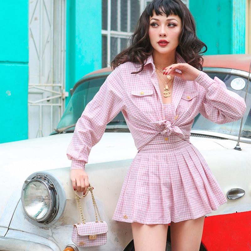 Le palais rocznika 2018 lato klasyczny w stylu vintage Plaid koszula kobiety stylowe przyciski w Bluzki i koszule od Odzież damska na  Grupa 1