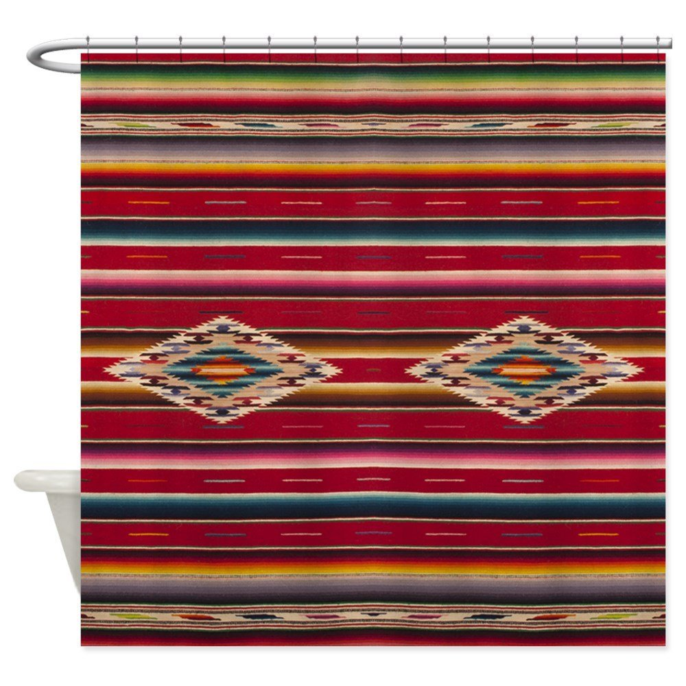 Southwest Red Serape Saltillo Decorative Fabric Shower Curtain For Bathroom Waterproof Polyester Shower Curtain