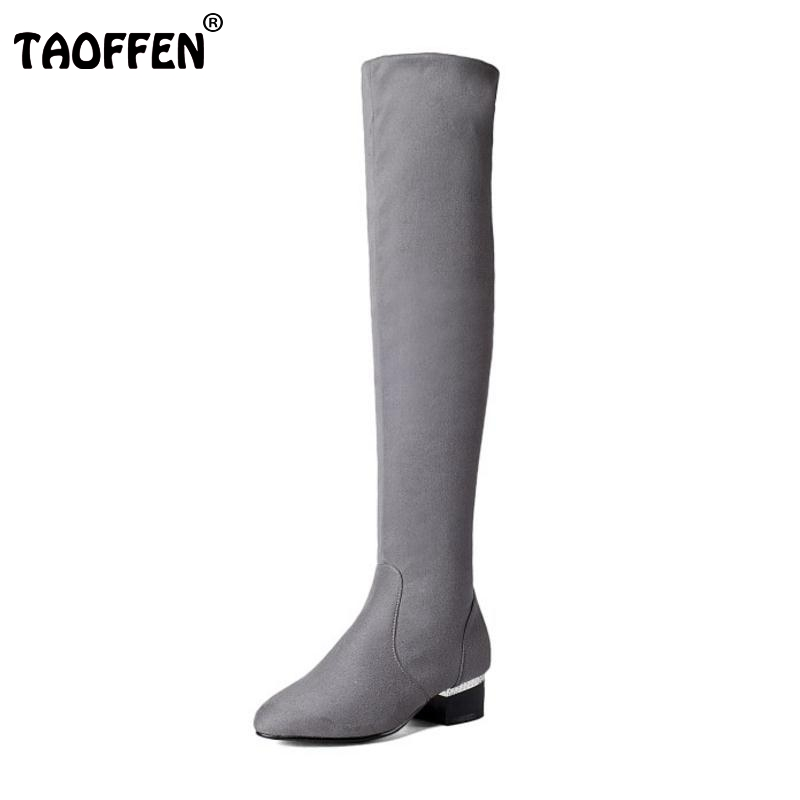 ФОТО Women Stretch Suede Leather Slim Thigh High Boots Round Toe Fashion Over Knee Boots Square Heels Woman Shoes Size 32-43