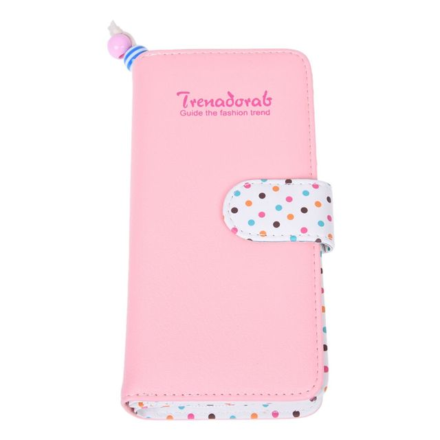 HEBA Hot Sale Women's wallet Zipped PU Leather purse Pink Dots Card Wallet