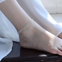 TJP Fashion Silver Anklets For Women Party Jewelry Simple Square 925 Bracelets Wedding Bijou Hot Christmas Gift