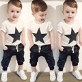 New Boys Clothing Sets! 2pcs Boys Five-pointed Star Printed Round Collar T-shirt Leisure Haren Pants Comfortable Cotton Design