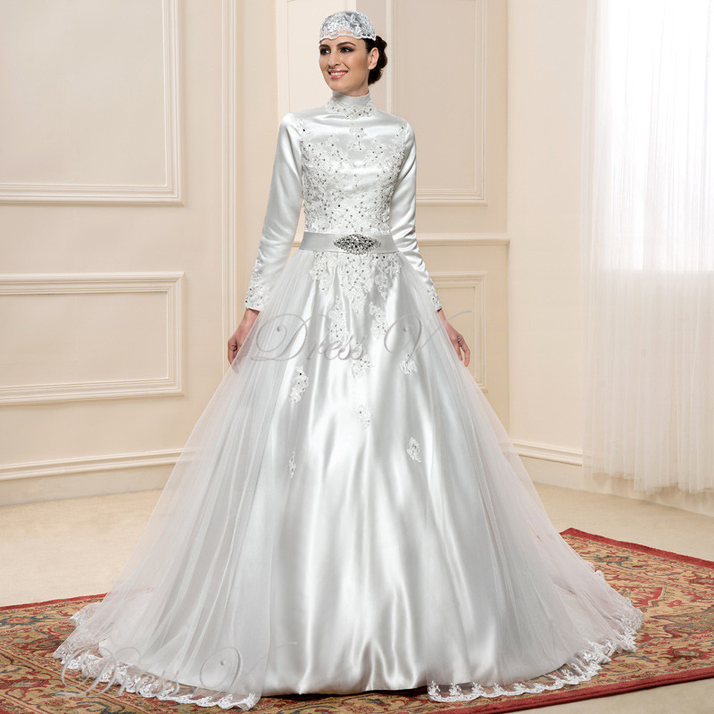Muslim Wedding Dress Uae : Long sleeve muslim wedding dresses lace applique