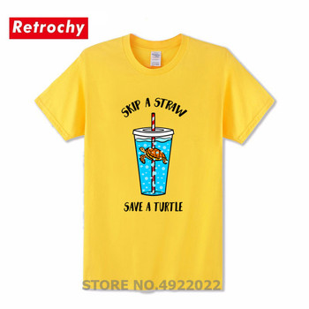 Letter Design Skip A Straw Save A Turtle T Shirt Green Propaganda Protection Ocean T-Shirt Homme Sea Turtle Men's Graphic Tshirt