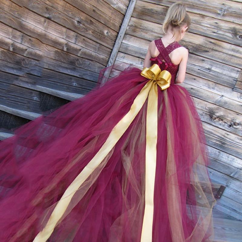 Flor de la manera niños Vestidos vino rojo boda blanco bola Encaje ...