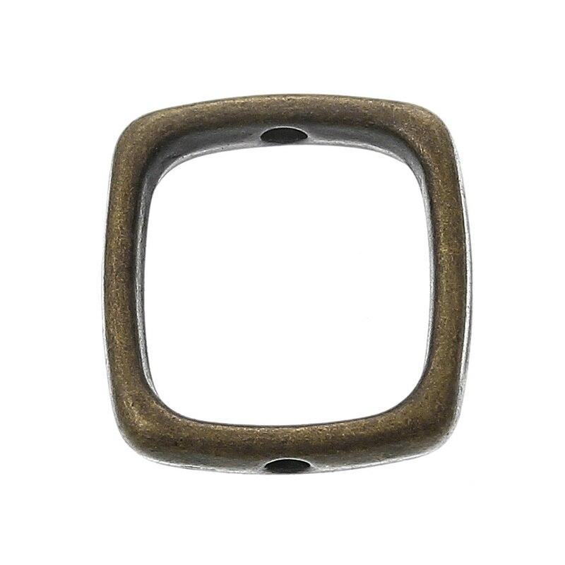 DoreenBeads Zinc Metal Alloy Beads Frames Rectangle Antique Bronze (Fits 10mm Beads) 14mm( 4/8