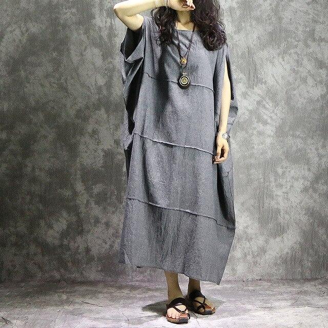 Women Summer Plus Size Robe Dress Patchwork Solid Color Loose Dress