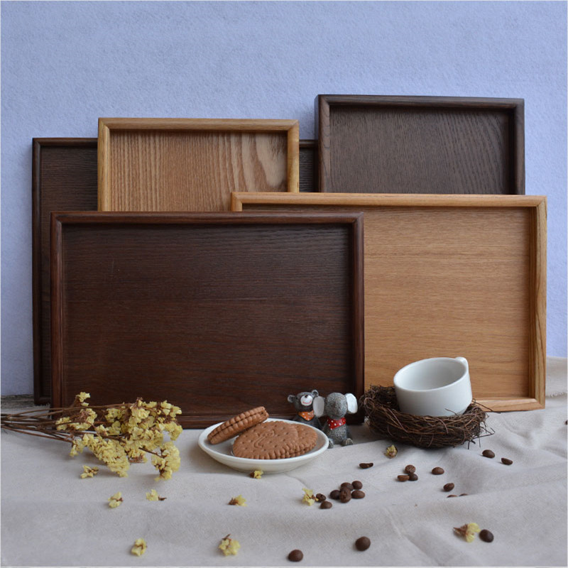 Japan Style Dinner Plates Serving Trays Wooden Rectangl Fruit Tray Hotels Tray Wooden Dish Dinnerware Set