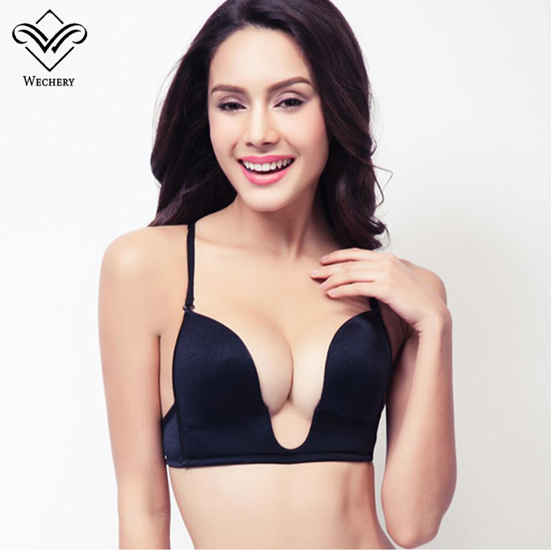 Wechery New Deep Plunge U Push Up Bra Sexy Seamless Adjustable Convertible Straps Sutian Bra Backless brassiere Plunge bralet BH