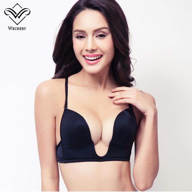 718e3448fe2fc Wechery New Deep Plunge U Push Up Bra Sexy Seamless Adjustable Convertible  Straps Sutian Bra Backless brassiere Plunge bralet BH