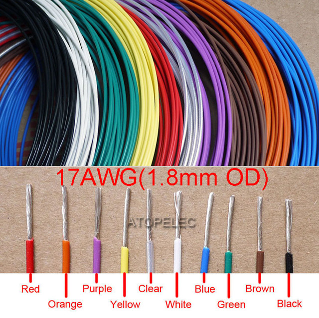 US $2 19 |17AWG 1 8mm OD FEP F46 Teflon Wire Silver Plated OFC Cable High  Temperature Black/Brown/Red/Orange/Yellow/Green/Blue/White/Clear-in Wires &