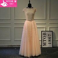 Designer Sexy See Through Prom Dress Gorgeous Shiny Crystals Beads with Fashion Sash robe de soiree vestido de festa MTOB1002