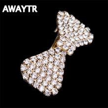 AWAYTR 2017 Romantic Silver/Gold Crystal Hair Clips Tiara for Womon/Girls Wedding Small Bowtie Hairpins Hair Accessories Gift