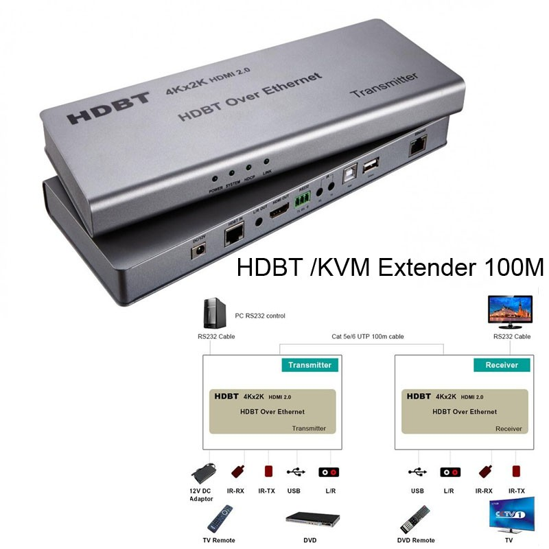 Wireless HDMI 2.0 HDBT /KVM Extender Ethernet transmitter receiver 100M Over CAT6 Support 4K*2K 3D PoE HDCP 2.2 RS232 HD BaseT portable fractional rf thermage skin tightening face lift anti aging dot matrix radio frequency facial machine