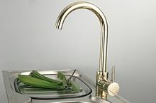 Zeitgenössische beauftragte 100% Kupfer warmen und kalten küchenarmatur gold farbe waschbecken gemüse becken mischer wasserhähne 1 teile/los