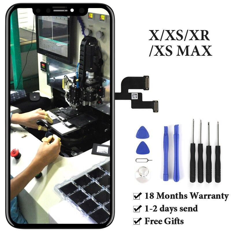 Pour iPhone X XS XR XS Max LCD écran tactile Aucun Pixel Mort AMOLED OEM ensemble écran numériseur Téléphone Remplacement De Rechange Partie