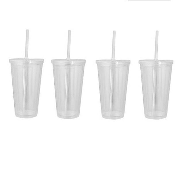 2015 hot selling CUPS CLEAR ACRYLIC TUMBLERS REUSABLE DOUBLE WALL