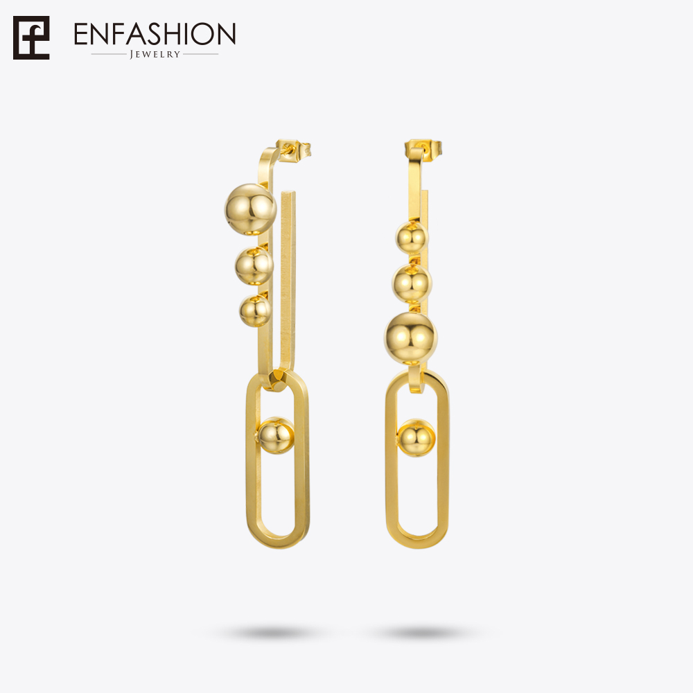 Enfashion Jewelry U and Ball Drop Earrings For Women Earings Fashion Jewelry Long Earrings Oorbellen Voor Vrouwen EB181049