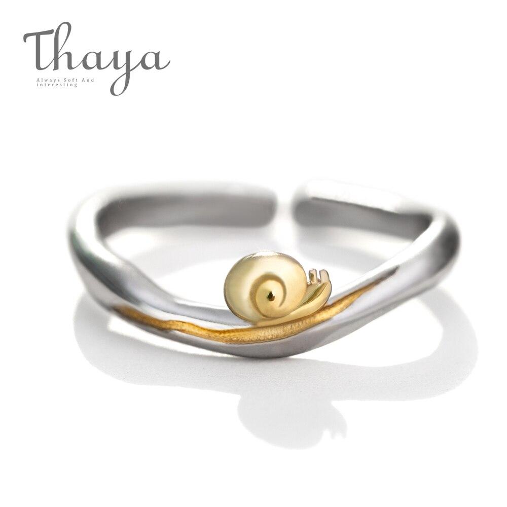 Thaya Gold Schnecken S925 Silber Finger Ring Journey Design Handgemachte Elegante Welle Ring für Frauen Geschenk Weibliche Natürliche Feine Schmuck