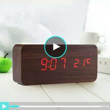 Reloj Despertador Led de madera con mesita de noche, pantalla Led con control de sonidos y temperatura, relojes de mesa digitales de escritorio electrónicos USB