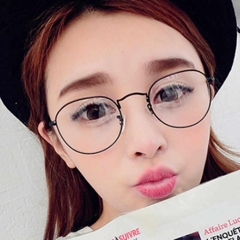 Klasik Versi Korea Kacamata Unik Lensa Kacamata Logam Kaca Polos Kacamata Frame Pria Wanita Polos Lensa Kacamata