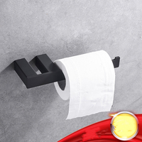 2 Pcs Black Single Towel Ring Roll Holder 304 Stainless Steel Bathroom Hardware Accessories Bath Towel Paper Holder Wall Mounted