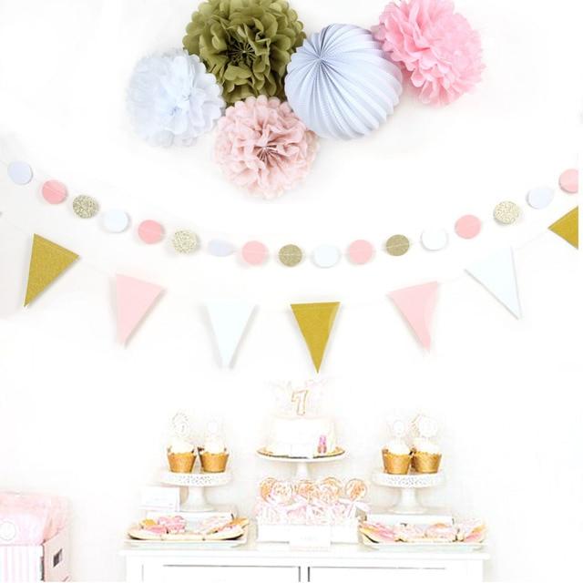 Набор из 7 бумажные украшения комплект поделки из бумаги (бумажный фонарик, флаг овсянка, англичане, круг гирлянду) Одежда для свадьбы, дня рождения Детские Декор