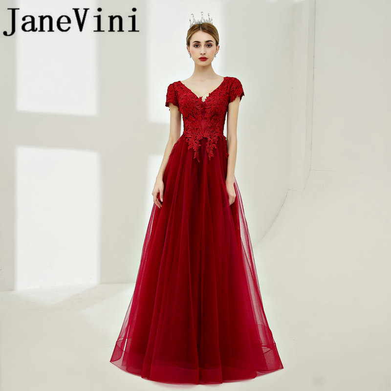 JaneVini Vintage Burgundy Short Sleeves Long   Bridesmaid     Dresses   V Neck Lace Appliques Beaded Backless A Line Formal Party Gowns