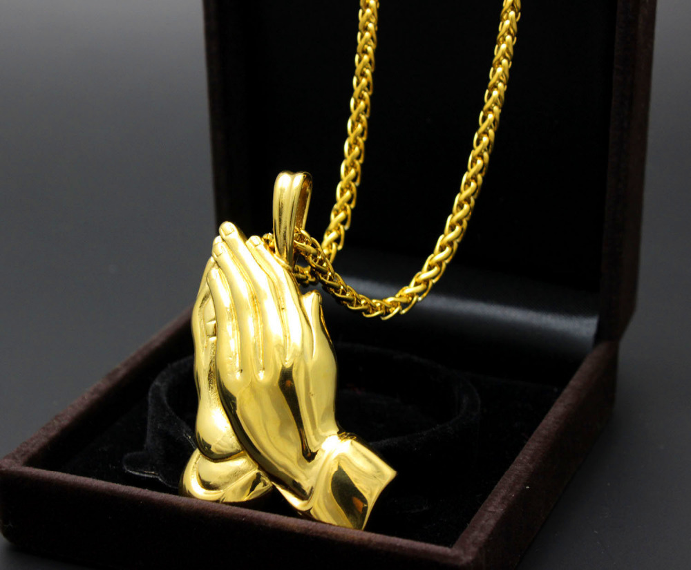 Gold 316l stainless steel praying hands religious pendant necklace gold 316l stainless steel praying hands religious pendant necklace chain 299 in pendants from jewelry accessories on aliexpress alibaba group aloadofball Choice Image
