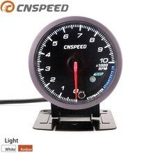 CNSPEED 60 мм 12 В Авто Тахометр 0-10000 об./мин датчик RPM Черный измеритель лица белый и янтарный светильник датчик YC101419+ YC100211