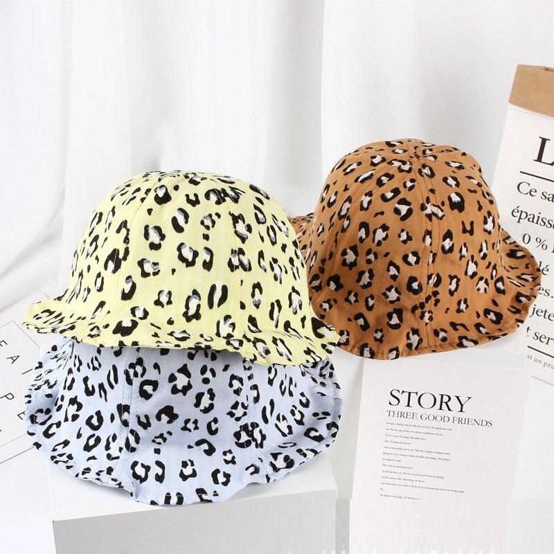 New Spring Summer Baby Sun Hat Cartoon Leopard Print Girls Sun Hat Kids Boys Bucket Cap Outdoor Fashion Toddler Baby Sun Cap